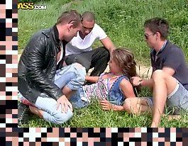 brunette outdoor gangbang teen